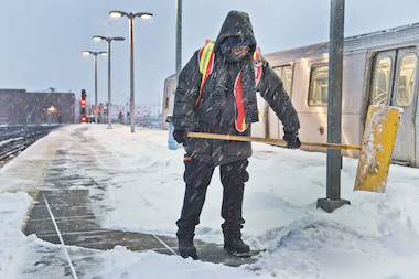 More than a foot of snow fell on parts of the city, the National Weather Service said.
