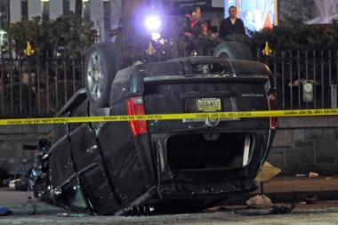 A 44-year-old man was killed when the SUV he was driving crashed on Sixth Avenue, police said.