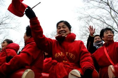 Hundreds of spectators gathered at Susan Roosevelt park near Chinatown to welcome the Year of the Horse.