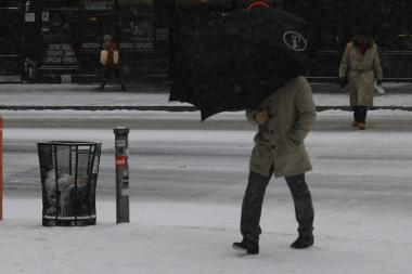 The snow began falling Tuesday morning and was expected to continue into Wednesday.