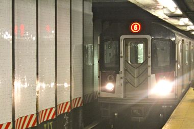 A person was struck by a 5 train at the Brooklyn Bridge City Hall subway station on Monday, April 21, 2014, authorities said.