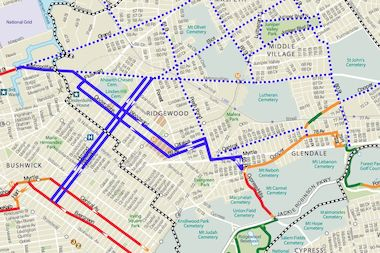 New bike lanes are coming to Ridgewood and Glendale (solid purple lines).