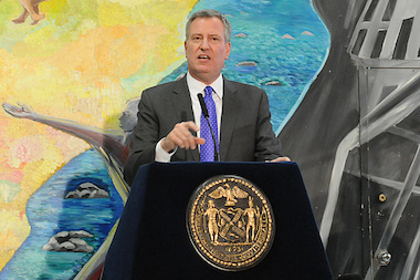 Mayor Bill de Blasio speaking about ACS on Feb. 6, 2014. He appointed several new leaders to key housing roles on the administration on Feb. 8, 2014.