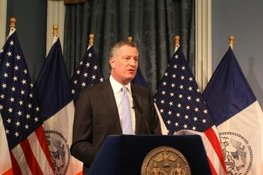 Mayor Bill de Blasio delivers his preliminary budget plan at City Hall on February 12, 2014.