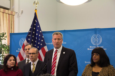 Mayor Bill de Blasio said the city will review the current recovery plan for Hurricane Sandy victims and release a new one in the coming weeks, but did not offer any details about it.