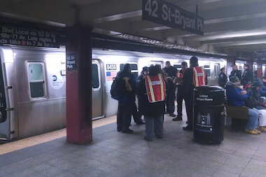 A man was in critical condition after he was hit by an uptown M train in the Bryant Park station, officials said.