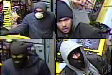 A group of four men stole cash, cigarettes and lottery tickets, police said.