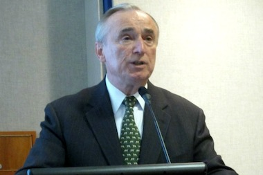 Bill Bratton speaking before Lower Manhattan group in March 2012.