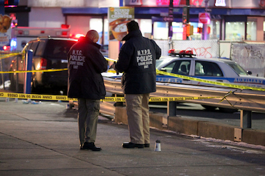 A patrol officer was shot in the leg at Empire Boulevard and Utica Avenue in Crown Heights.