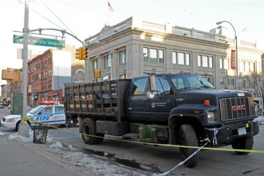 A woman was rushed to Bellevue in critical condition after being struck by a truck at the intersection of Grand Street and Graham Avenue Tuesday afternoon, Feb. 11, 2014.