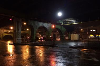 The underpass across Hamilton Avenue and under the Gowanus Expressway between Red Hook and Carroll Gardens.