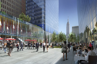 A rendering of the Center Plaza at Manhattan West.