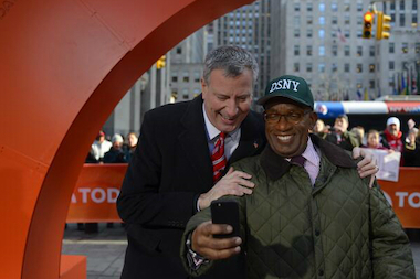 "Al Roker takes a selfie with the mayor during Bill de Blasio's appearance on the ""Today"" show."