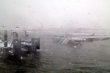The dock ramp at the Greepoint hub for the East River Ferry collapsed Thursday morning, witnesses said.
