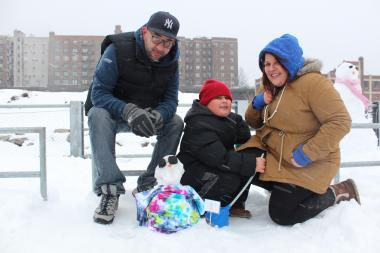 Rich, Richie and Angie — all from Brooklyn Heights — with their one-of-a-kind creation: The Tie and Dye Snowman