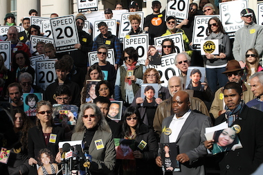 "Families whose loved ones were killed or injured by reckless drivers gathered in front of City Hall Sunday afternoon to announce the formation of a new group, ""Families for Safe Streets"", which will advocate for the implementation of Vision Zero."