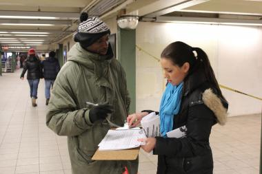 Advocates seeking police reforms collected signatures from New Yorkers Saturday for a petition that would encourage Mayor Bill de Blasio to follow through on his promise to set up an indepedent monitor to oversee the workings of the city's police department