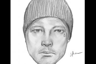 A sketch of a man described by police as having broken in to an apartment Thursday morning.