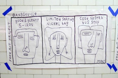 Max Singer has posted his free drawings all over Manhattan.