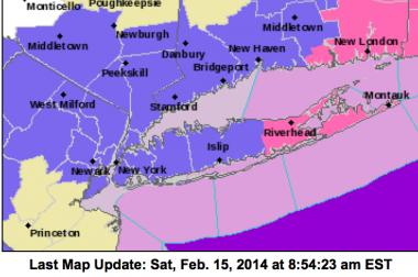 In this map the dark purple indicates a Winter Weather Advisory region.