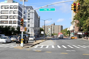 Members of Transportation Alternatives are holding a forum to discuss changes on Jay Street in Brooklyn on March 10.