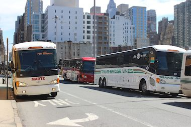 Buses parked on West 39th Street, near the area where the Port Authority hopes to build the Galvin Plaza Bus Annex.
