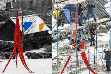 Gramercy Park's Alexander Calder sculpture was removed and shipped to Amsterdam last week.