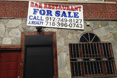 The former Castle Heights bar on Northern Boulevard in Jackson Heights is up for sale.