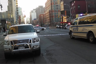 A woman was hit near Cooper Square and St. Marks Place March 27, 2014, the FDNY said.