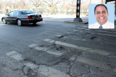 Potholes at 31st Street and Hoyt Avenue in Astoria. City Councilman Constantinides introduced a bill last week that would require the city to repair potholes within five days of when a complaint is made.