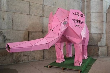 The sculpture was created by Hector Orellana and has lived under the Manhattan Bridge since last summer.