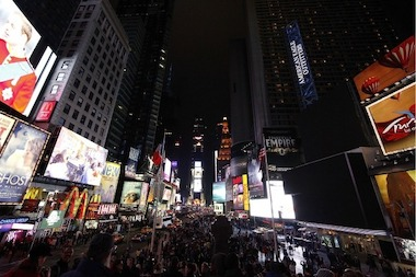 Times Square is seen in darkness as part of Earth Hour on March 31, 2012.