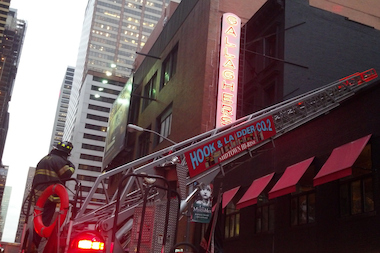 A fire broke out in the venting ducts of Gallagher's Steak House in Midtown on Monday March, 17, 2014.