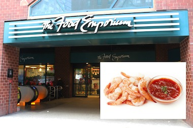 A man was arrested after he tried to swipe wine, nuts, shrimp and cocktail sauce from Food Emporium.