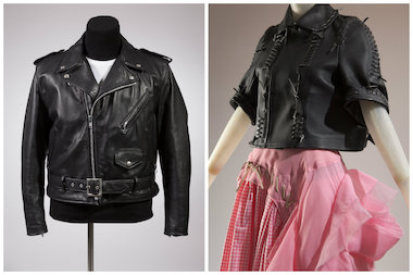 The exhibit includes biker jacket-inspired pieces by Schott, Yves Saint Laurent, Jean Paul Gaultier, and Comme des Garcons.