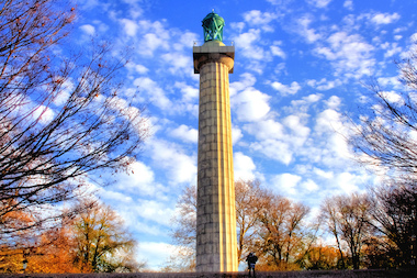 The Prison Ship Martyrs' Monument is located at the center of Fort Greene Park in Brooklyn.