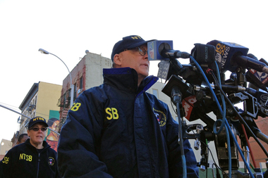 National Transportation Safety Board board member Robert Sumwalt outlines the investigation into the Park Avenue building explosion during a press conference in East Harlem March 13, 2014.