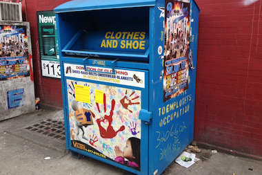 The Department of Sanitation has been removing used clothing bins illegally placed on city sidewalks.