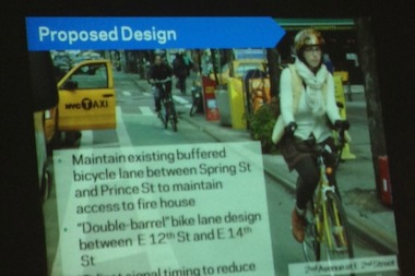 The protected bike path will run from Lafayette Street and Prince Street to Fourth Avenue and 14th Street.