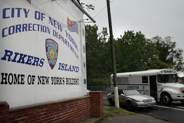 A view of the entrance to the Rikers Island complex.