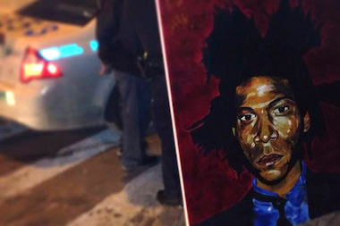 A portrait of Jean-Michel Basquiat worth $10,000 was recovered after being stolen from the Cotten Candy Machine Art Gallery in Williamsburg on March 1, 2014.