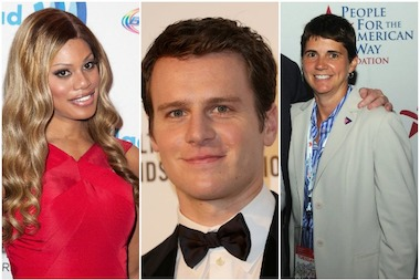The 2014 Pride marshals are, from left to right: actress and transgender activist Laverne Cox; actor Jonathan Groff; and Rea Carey, executive director of the National Gay and Lesbian Task Force.