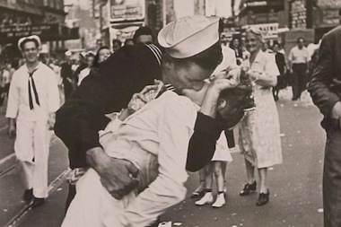 A nurse and sailor share a famous kiss in Times Square on V-J Day Aug. 15, 1945, celebrating the end of World War II.