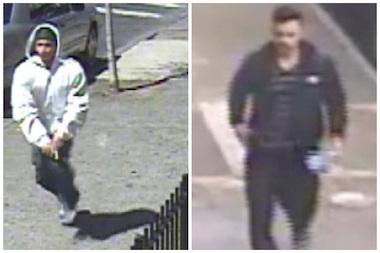 The NYPD released images of suspects in two shootings in The Bronx over the weekend. Police said the suspect on the left shot a man in the butt on April 25 at 575 East 168th Street, while the suspect on the right is being sought in connection to the stabbing of 19-year-old Jasmine Canton in her home on April 26.