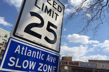 The speed limit on a 7.6-mile stretch of Atlantic Avenue will be reduced from 30 to 25 mph as part of the city's Vision Zero initiative.