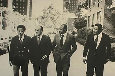 "Basil Paterson, second from left, a Harlem political leader and the father of New York's first African-American governor David Paterson, died Wednesday evening. From left are former Mayor David Dinkins, Paterson, the late Manhattan Borough President Percy Sutton and Rep. Charles Rangel who made up the ""Gang of Four."""