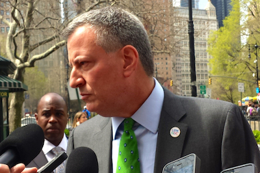 Mayor Bill de Blasio announced a new labor deal with nurses and healthcare workers — the second of his administrations — on June 25, 2014.