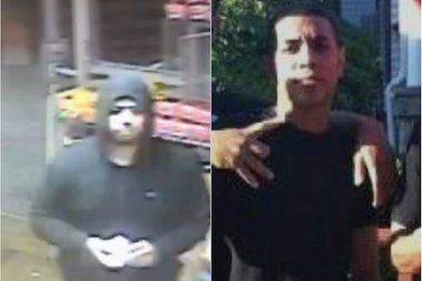The four robbers, two of whom are shown here, swiped $30,000 from an Astoria deli, police said.