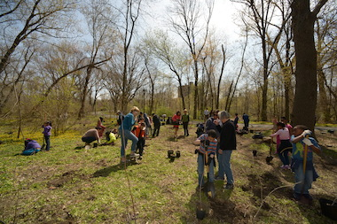 Students from the Bronx Community Charter School planted trees on Friday in the Bronx River Forest.