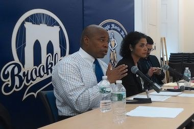 Brooklyn Borough President Eric Adams addressed vacant seats in Central Brooklyn, including in his own former senate district, at a roundtable discussion with reporters at Borough Hall on Wednesday.